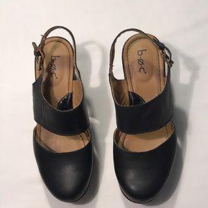 b.o.c Black Leather Wedge Platform Shoes